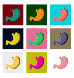 Icons set in flat style human organ stomach vector