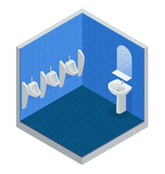 Isometric row of outdoor urinals men public toilet vector