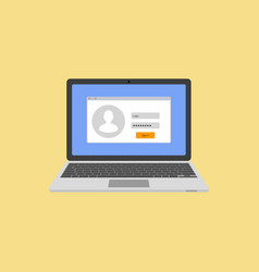 Laptop with authorization on the screen login and vector