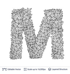 Letter m symbol of white leaves vector