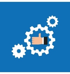 like hand icon with gear work icon vector image