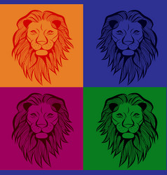 lion head animal for t-shirt sketch vector image
