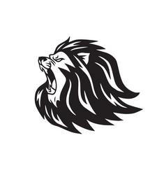 lion roaring head logo vector image