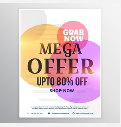 mega sale discount voucher design template vector image