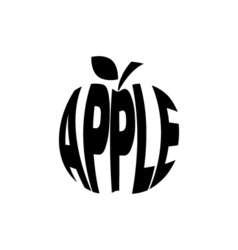 Monochrome apple stylized a silhouette with the vector image
