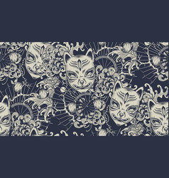 monochrome pattern with a kitsune mask on the vector image