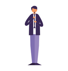 Musician man with classic clarinet vector