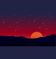 Nature landscape twilight background with meteor vector