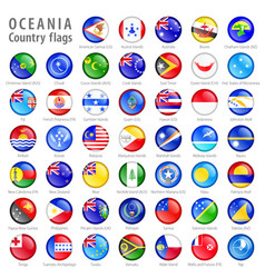 Oceania national flag buttons set vector
