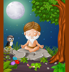 old man meditate while sitting on a big stone vector image