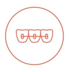 Orthodontic braces line icon vector