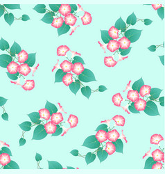pink morning glory on green mint background vector image