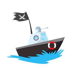 pirate boat corsair sea dog ship icon game vector image