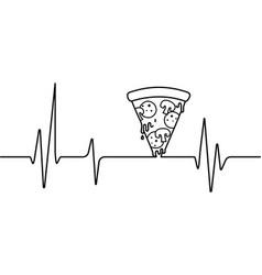Pizza slice heart beat on white background vector