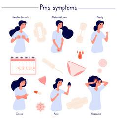 Pms symptoms female stress abdominal pain acne vector