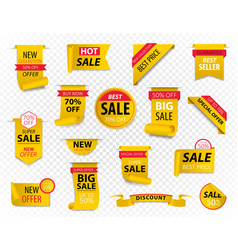 price tags yellow ribbon banners sale promotion vector image