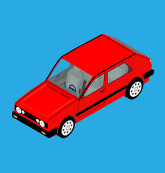 red retro car isometric view isolated on blue vector image