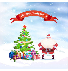 santa claus standing at christmas tree holiday vector image