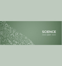 science day blackboard doodle web banner vector image