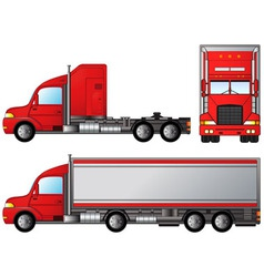 Set big american truck vector