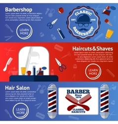 Set of Barber banners with grooming vector