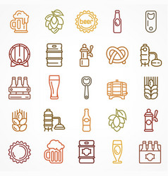 Set of linear color beer icons vector