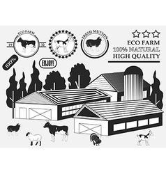 Set of premium Cow goat lamb turkey beef labels on vector image