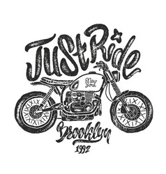Sketch motorcycle brooklyn t shirt prints vector