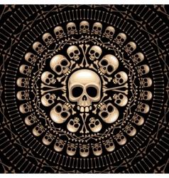 Skulls and bones rosette vector