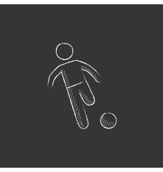 Soccer player with ball Drawn in chalk icon vector
