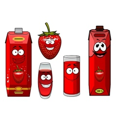 Strawberry juice bright red packs and berry vector