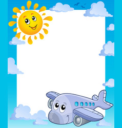 Summer frame with sun and airplane vector