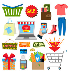 supermarket web shopping cartoon set food and vector image