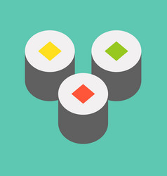 Sushi roll food and gastronomy set flat icon vector
