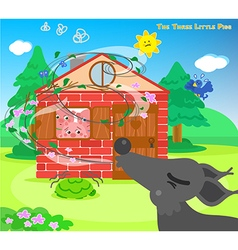 The three little pigs and blowing wolf vector