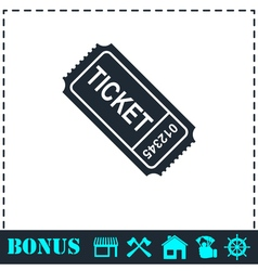 Ticket icon flat vector