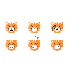 Tiger emojis set cute tiger face emoticon with vector