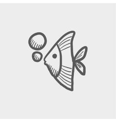 Tropical fish sketch icon vector