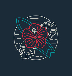 Tropical surf icon with flower in flat line style vector