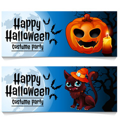 Two horizontal cards on the theme of the halloween vector