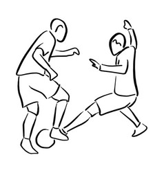 two soccer players with ball sketch vector image