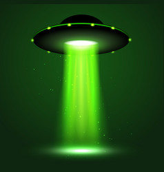 ufo light beam alien transport futuristic vector image