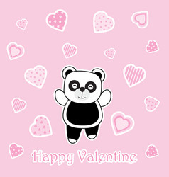 valentines day card with cute panda on love vector image