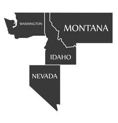 Washington - montana - idaho - nevada map vector