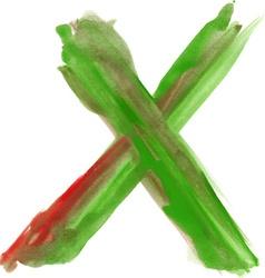 Watercolor Font LETTER X vector image