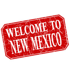 Welcome to new mexico red square grunge stamp vector