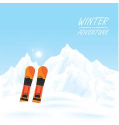 winter adventure conceptual snowboard against vector image