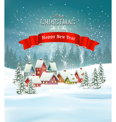 Winter village christmas holiday background vector