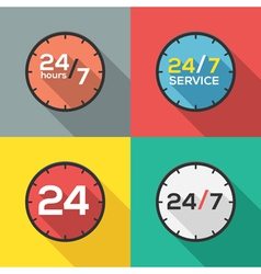 24 hours a day and 7 days a week flat icon clock vector image vector image