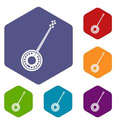 banjo icons set vector image